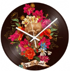 Day of the Dead Rose Skull Record Clock